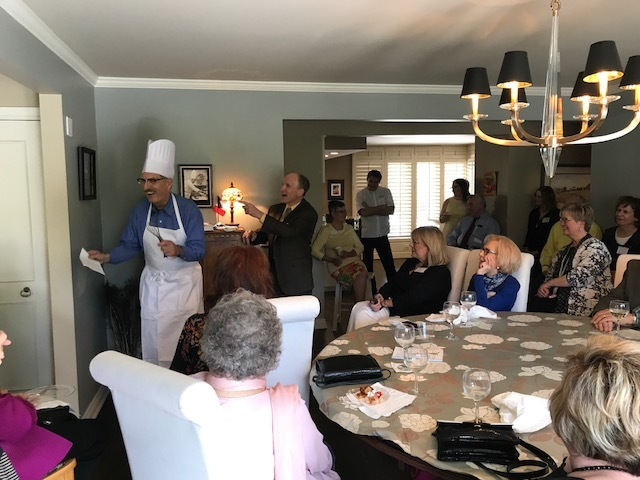 AFO Members and guests enjoying Marty Skomal portraying George Dinsdale, 7th AFO President with Chris Behr as AFO Founder Felix Despecher.  Our thanks to Esther and Dan Brabec, who opened their lovely home for this event.