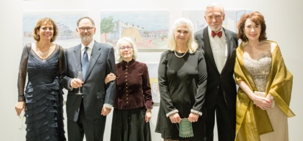 From left to right: Holly Richmond, President of the Alliance Française d'Omaha, Jim and Judy Wigton, special guests, Jody and Roger duRand, special guests, and Anne Marie Kenny, Centennial Gala Chair.