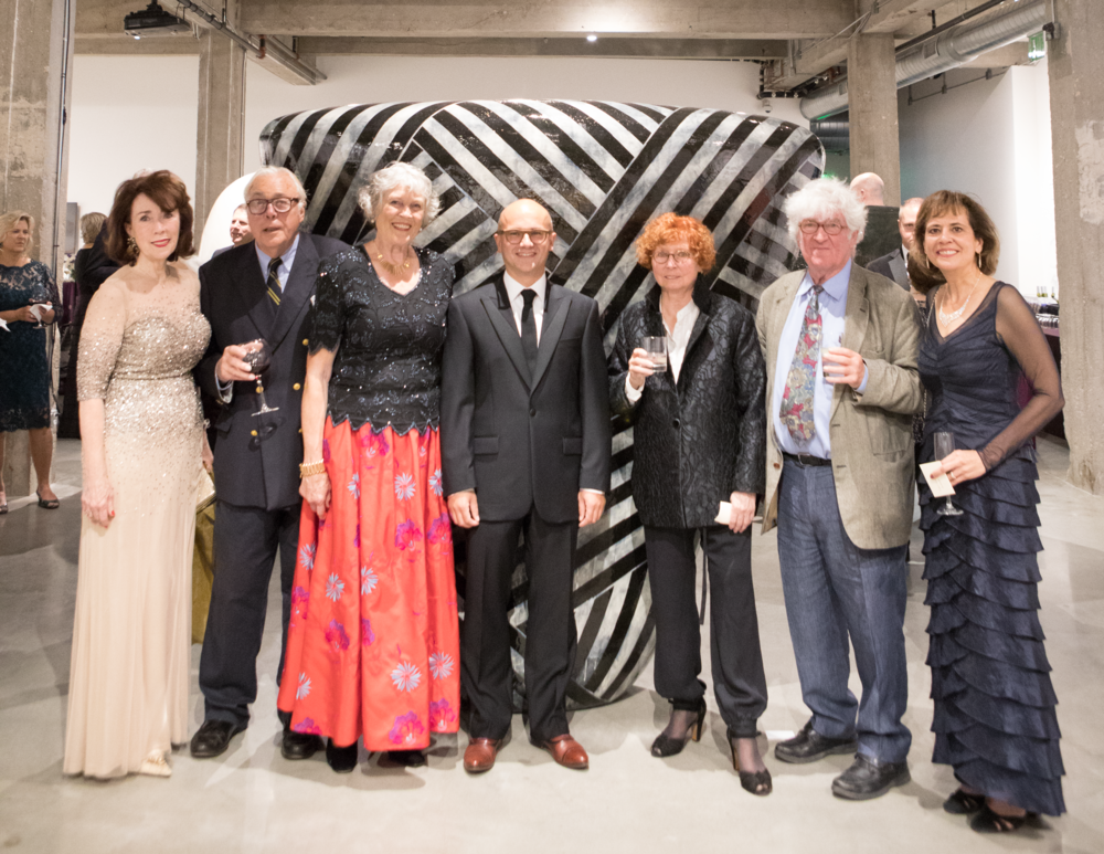 Distinguished guests at the AFO Gala du Centenaire Patron's Party:  From left to right:   Anne Marie Kenny, Centennial Gala Chair,   Nicholas and Jane Bonham-Carter, Honorary Chairs,   Consul General Guillaume Lacroix, Guest of Honor, V  era and Mark Mercer, Honorary Chairs, and   Holly Richmond, Présidente, Alliance Française d'Omaha.