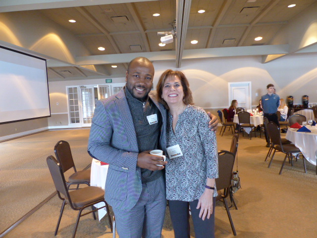 Franck Tucker Ebang with AFO President Holly Richmond. Mr. Ebang's Presentation spoke on the subject of The French Language and Cross-Cultural Communication across Africa.