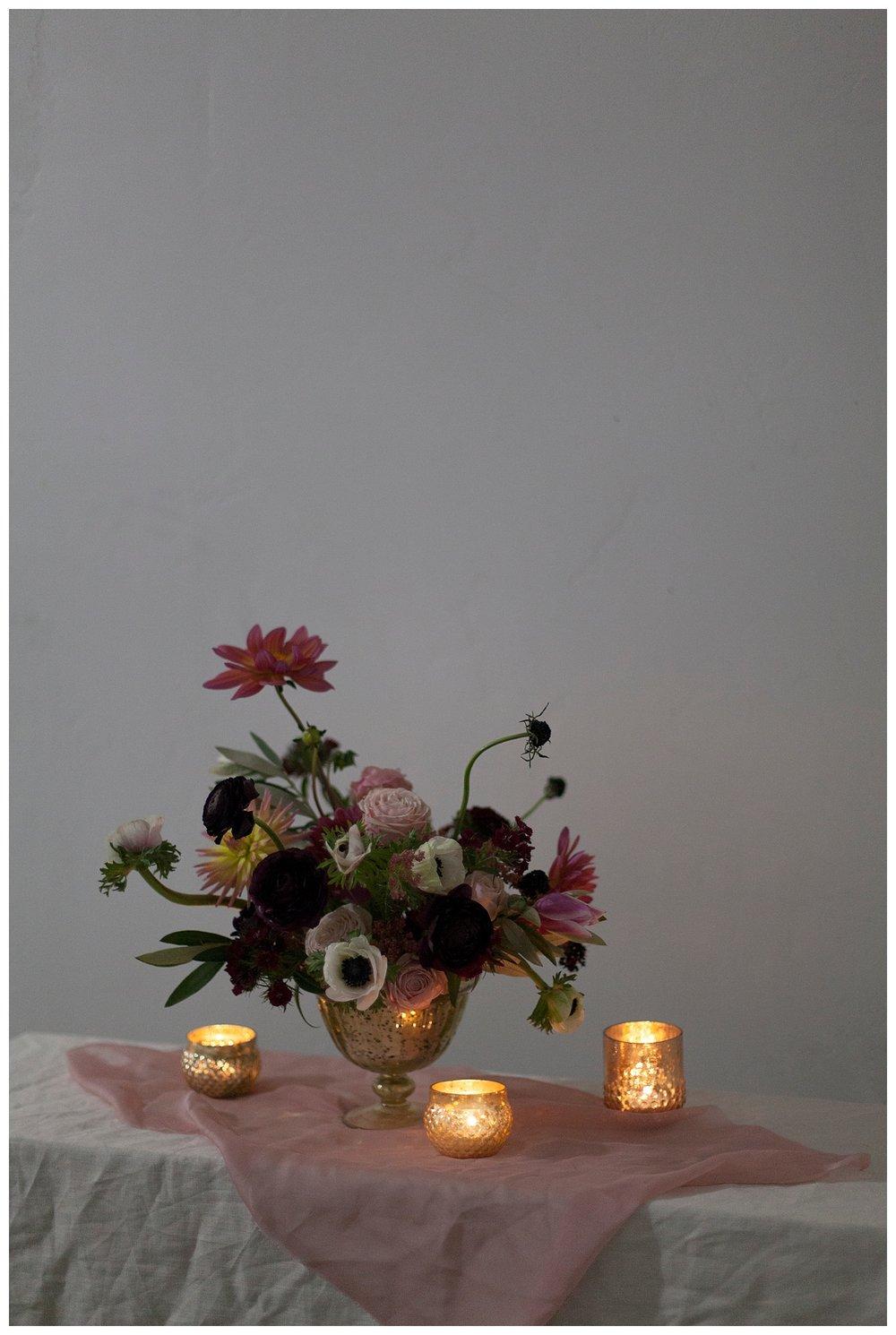 Blush and Berry Wedding Flower Centerpiece