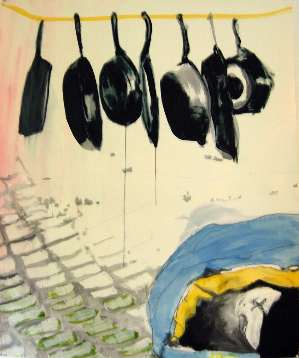 Frying Pans, oil on paper, 40 x 36 inches, 2010