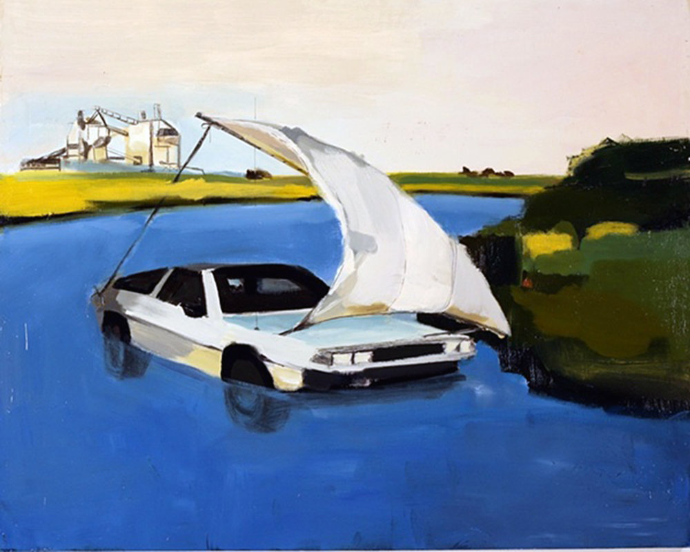 The DeLorean, oil on panel, 24 x 36, 2009