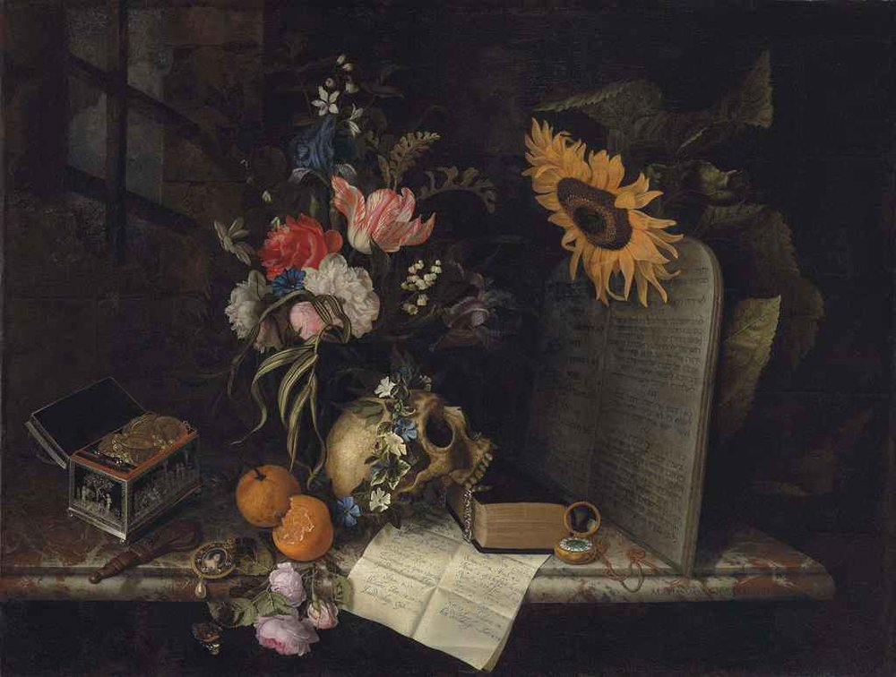Vanitas with Sunflower and Jewelry Box by Maria van Oosterwijck (c. 1665)| PC: christies.com
