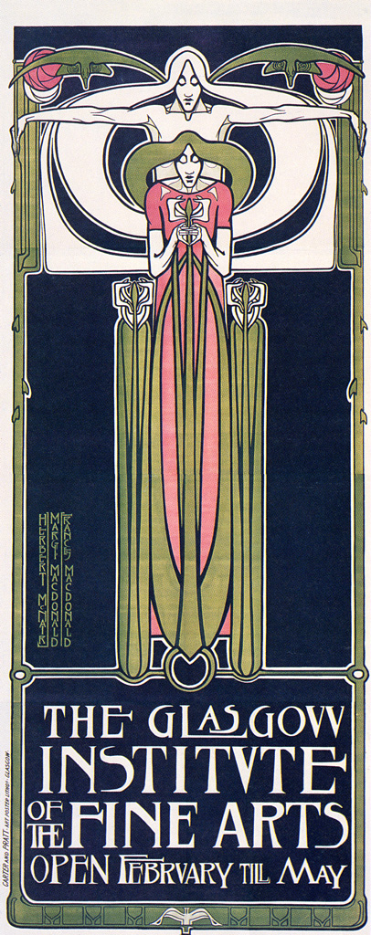 Glasgow School of Art Poster by Frances Macdonald, Margaret Macdonald, J. Herbert McNair (1885) | PC: MCAD Library