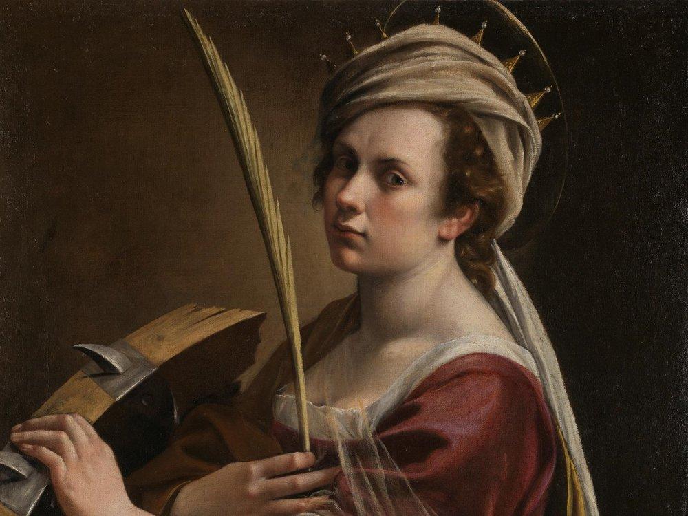 "PC: The National Gallery, London | Artemisia Gentileschi, ""Self-Portrait as Saint Catherine of Alexandria,"" c. 1615-17"