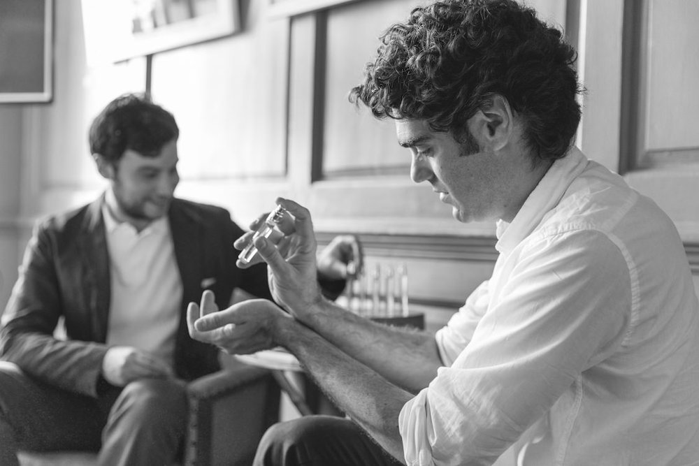 Matt and Antonio, Thomas Clipper co-founders, blending their own fragrances from the UNITE Collection.