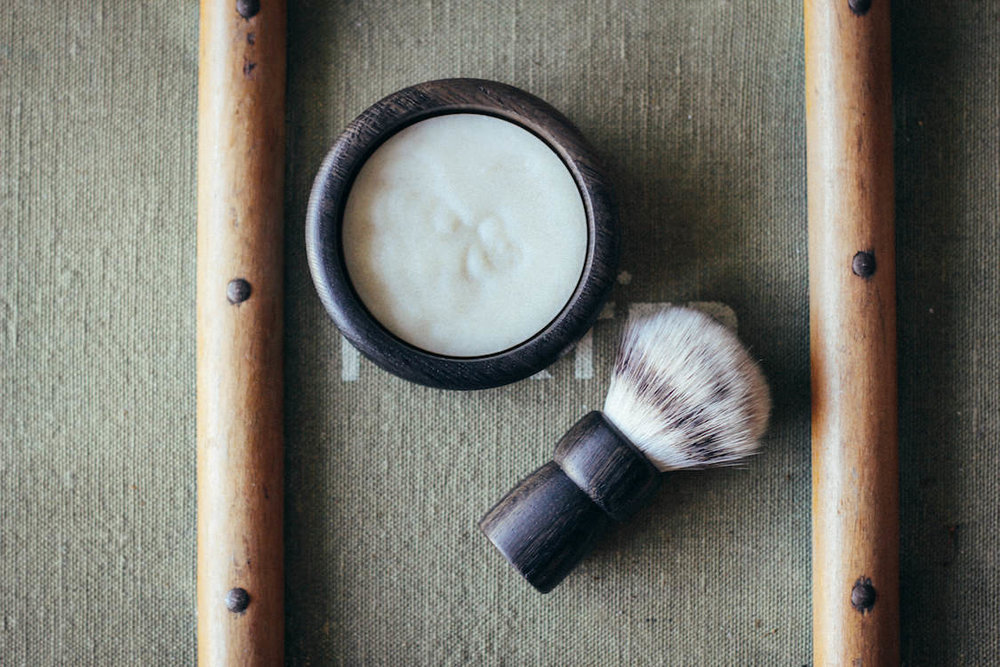 A luxury handmade shaving soap and brush set by Thomas Clipper