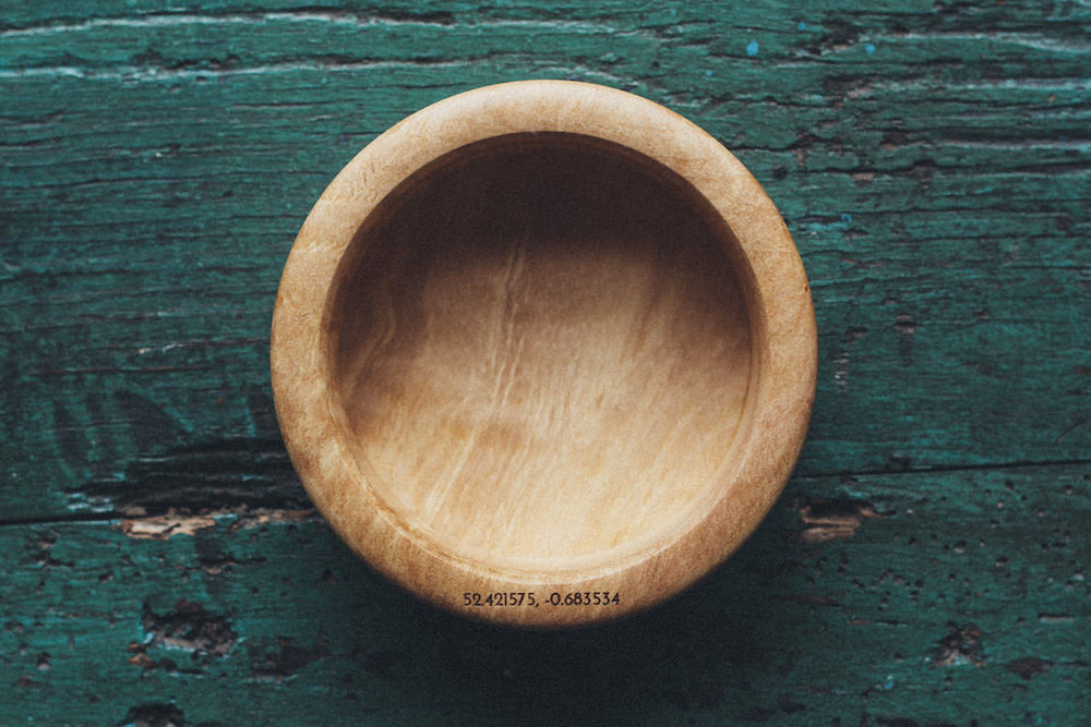 GPS coordinates etched on the rim to help you find where the timber was grown