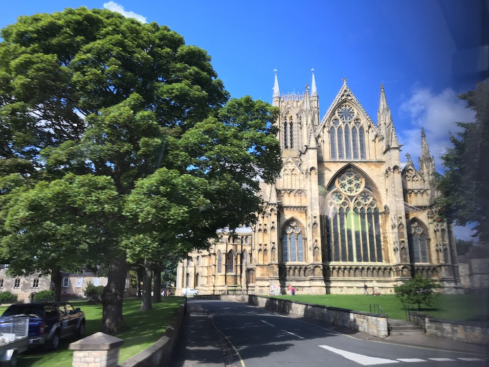 Beautiful Lincoln cathedral from the window of the glamorous replacement bus service