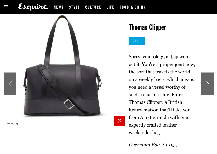 Thomas Clipper's All Leather Overnight Bag - the full article is available on the Esquire site (link above)