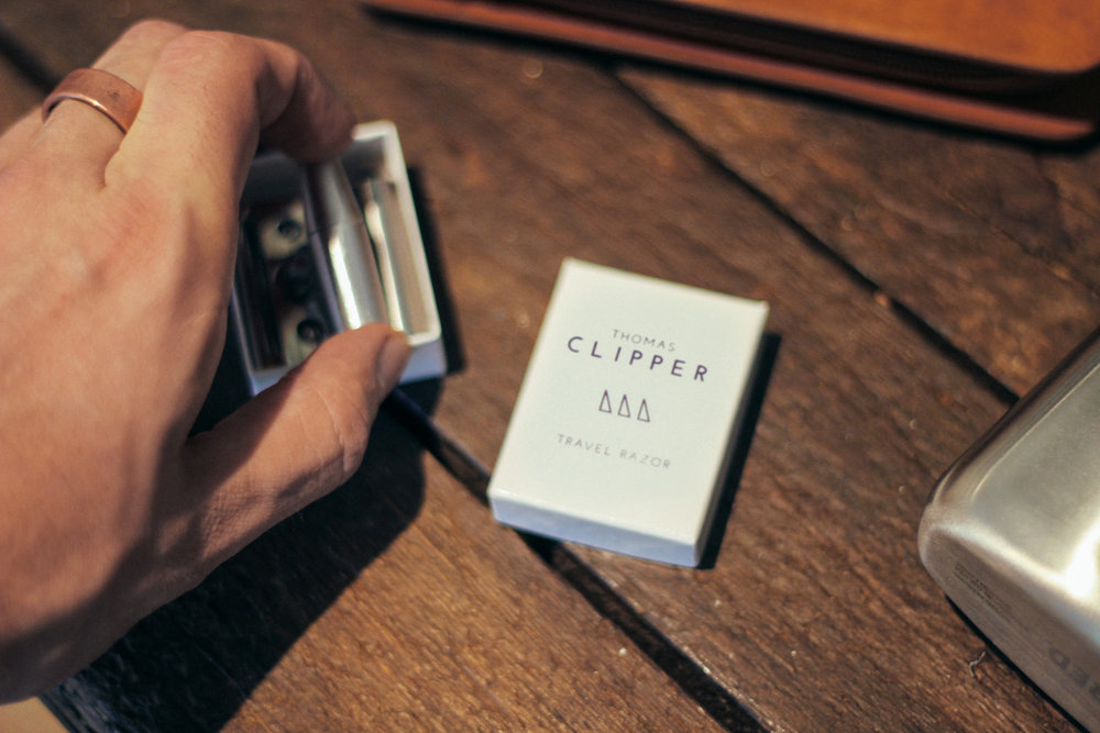 The Travel Razor from Thomas Clipper collapses to fit into a matchbox