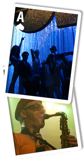 A montage image of Urban Playboys with Dancers live on stage and Mr Norton playing saxophone
