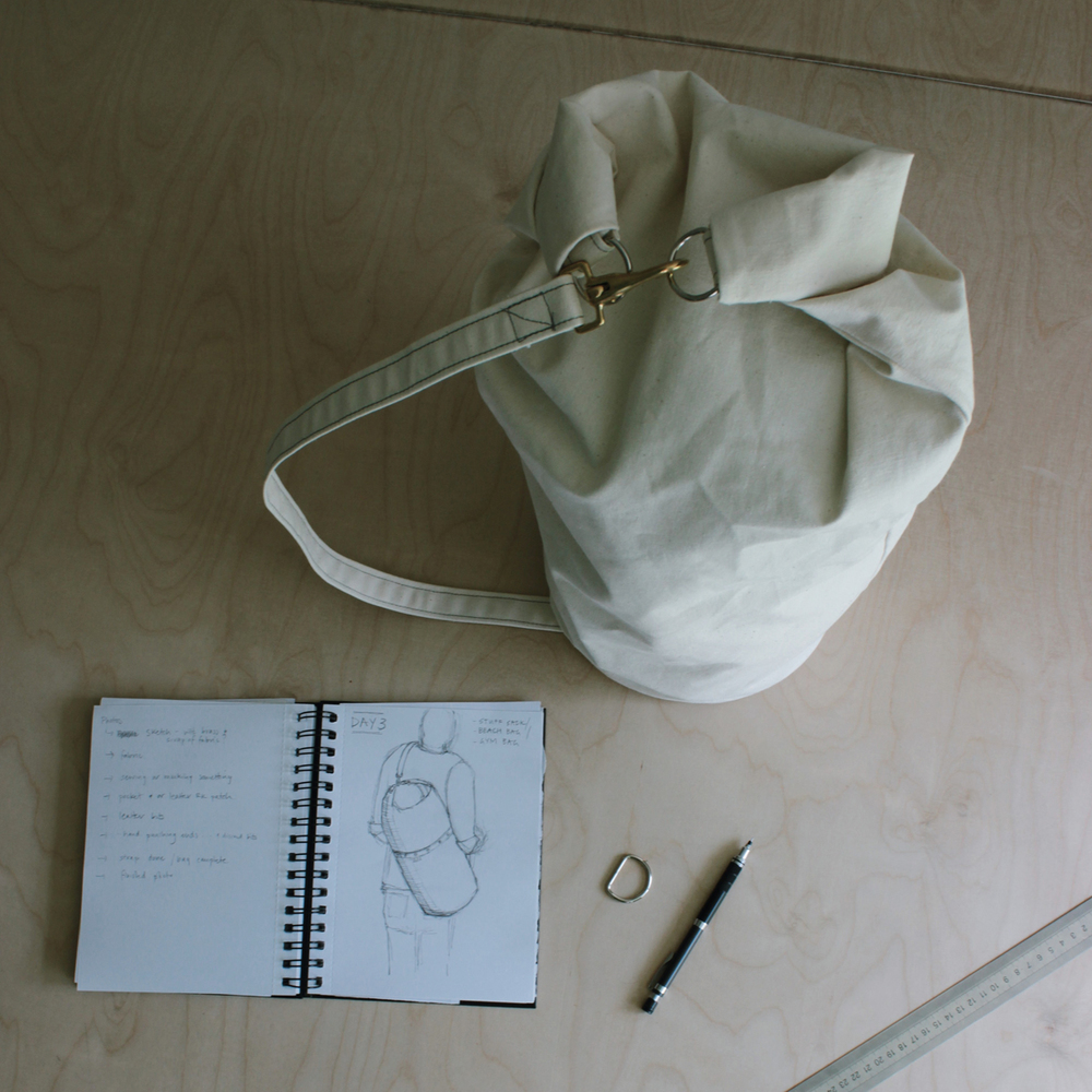 DAY 3 update.... so we've worked up a rough canvas prototype of today's bag. Its a little bigger than expected so we will adjust the sizing a bit and maybe include a little pocket somewhere but in general it works - yay!