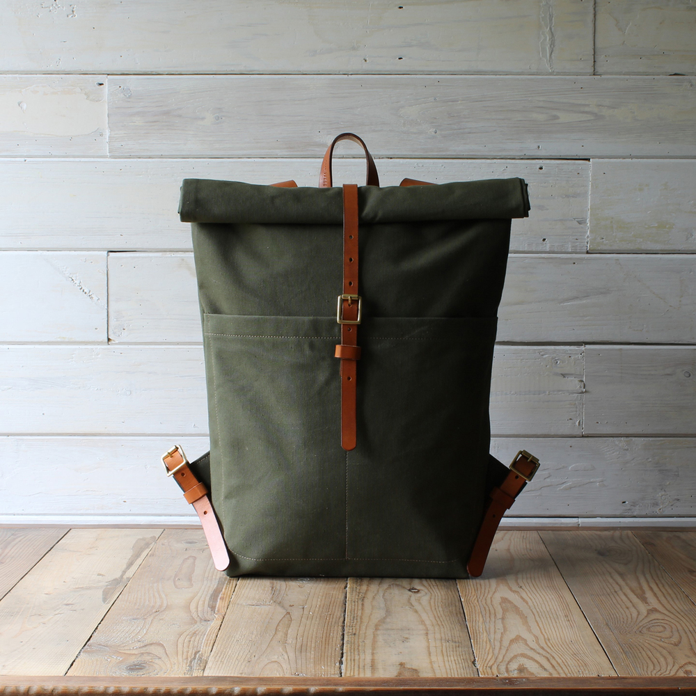 Rural-Kind-army-tent-roll-top-backpack-handmade- & 1952 ARMY TENT ROLL-TOP RUCKSACK | RURAL KIND