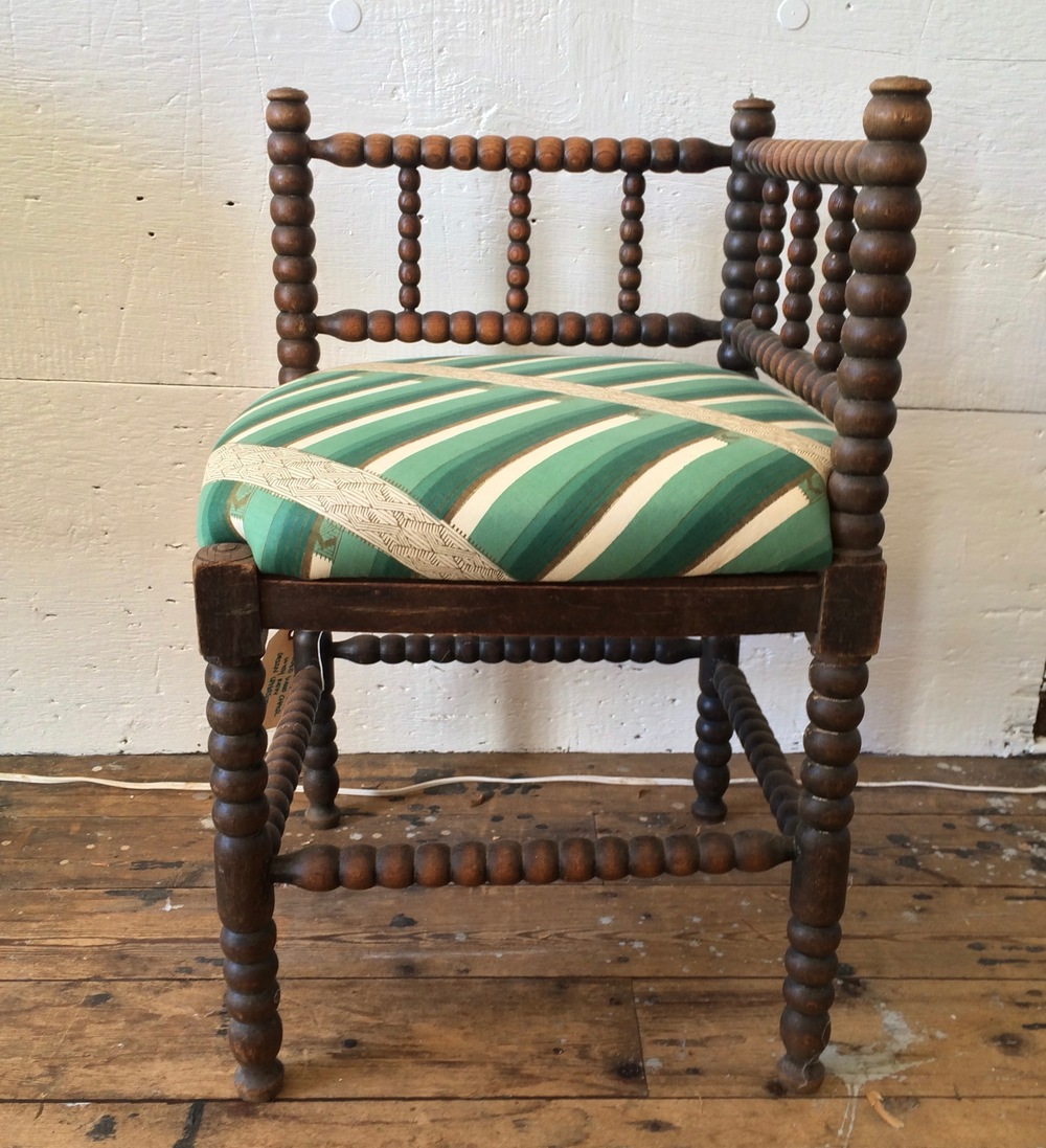 Dutch Wooden Corner Chair With Tribal Green Fabric