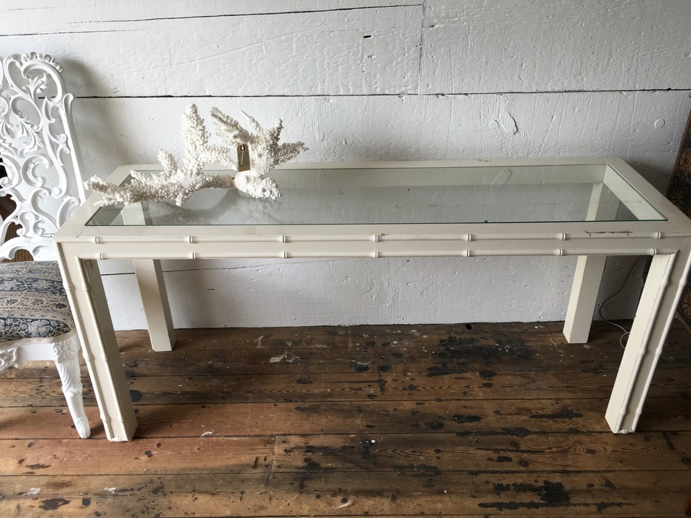White Bamboo Console Table