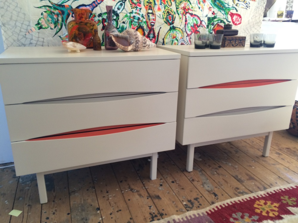 Pair Of Mid Century White Painted Chests With Beige U0026 Orange Insert Detail