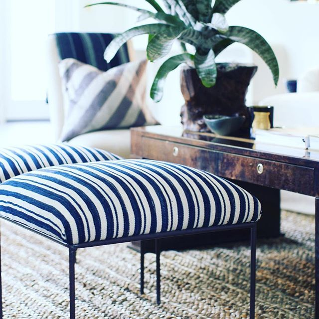 Clover at Home! Wrought iron stools with vintage Mali textiles #cloverdesign #vintagefurniture #mali #wroughtiron #findyourclover