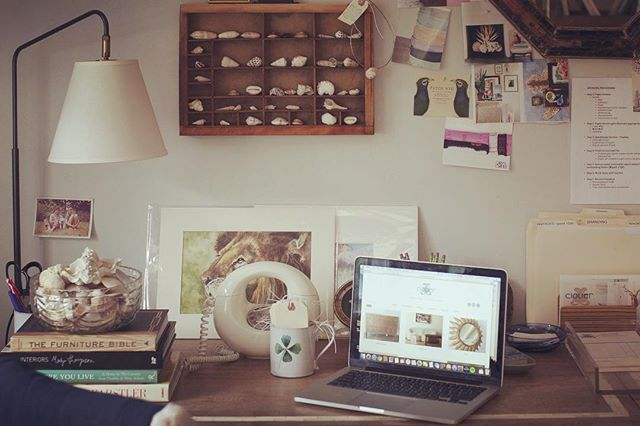 Back to work on this dreary day. Happy to be inside our cozy barn! #cloverdesign #vintagefurniture #findyourclover