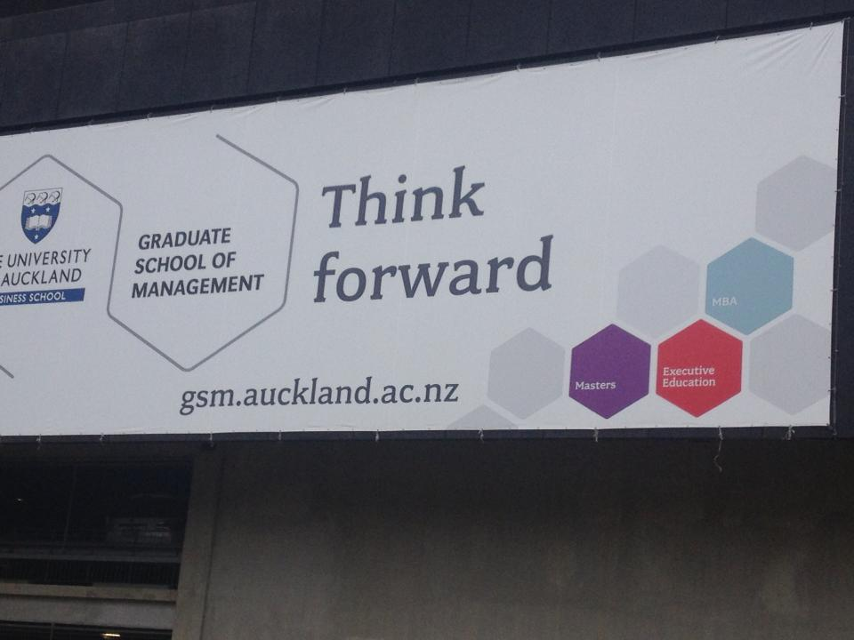 Inspiring banner at the University of Auckland, New Zealand, December 2013.