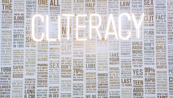 CLITERACY, 100 Natural Laws,   2012 is mixed media project that explores a paradox;  the global obsession with sexualizing female bodies in a world that is illiterate when it comes to female sexuality -  Sophia Wallace