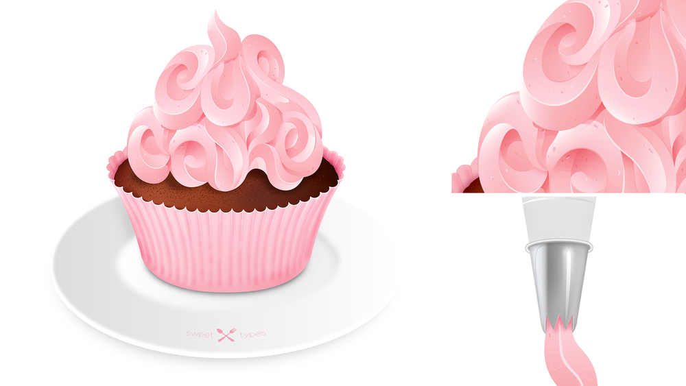 CUP CAKE Pastry Lettering Lettering / Illustration.