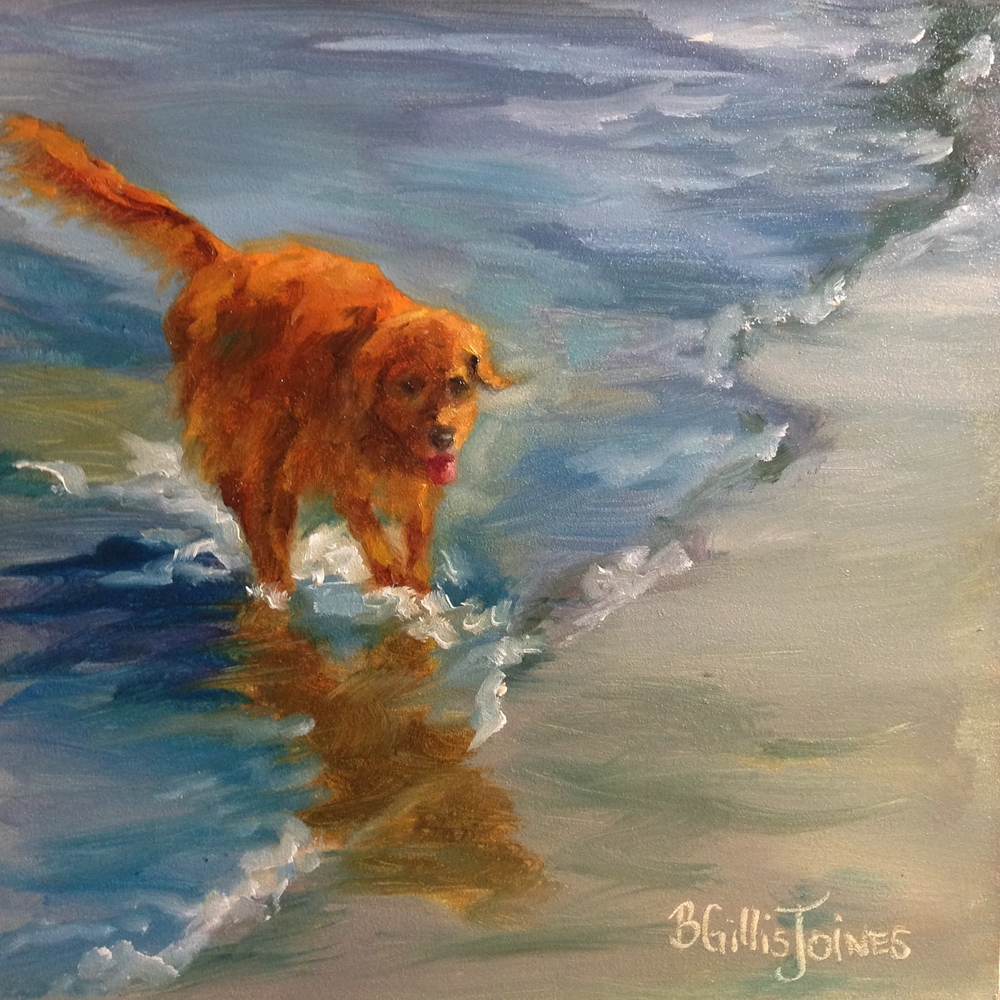 """Retriever Romp""  6x6 inch Original Oil in Museum Quality Panel    SOLD"