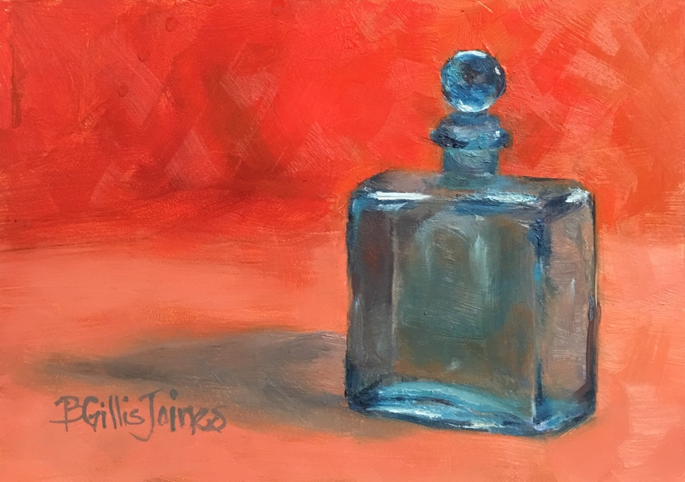 """Blue Bottle In Orange""   5x7 inch   Original Oil on Museum Quality Panel              For Purchase information, click to bid below"