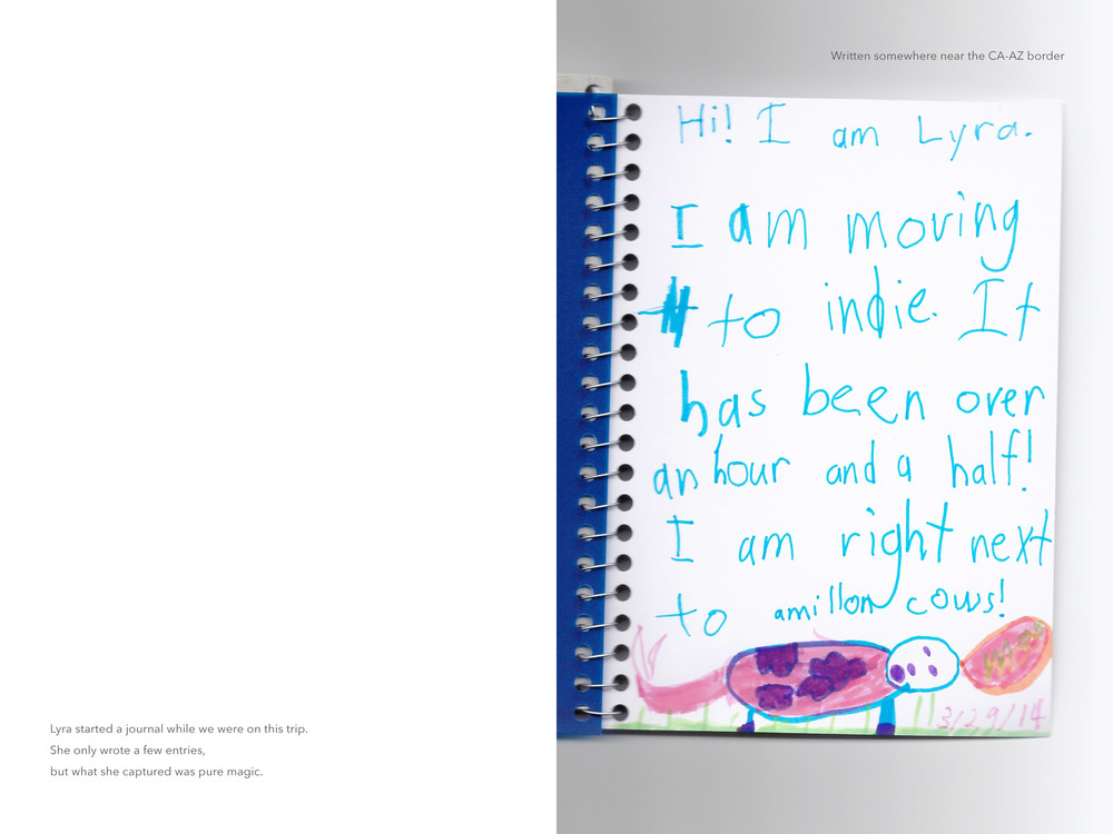 Photobook layout with child's artwork
