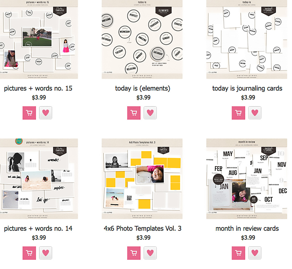 A selection of products from paislee press