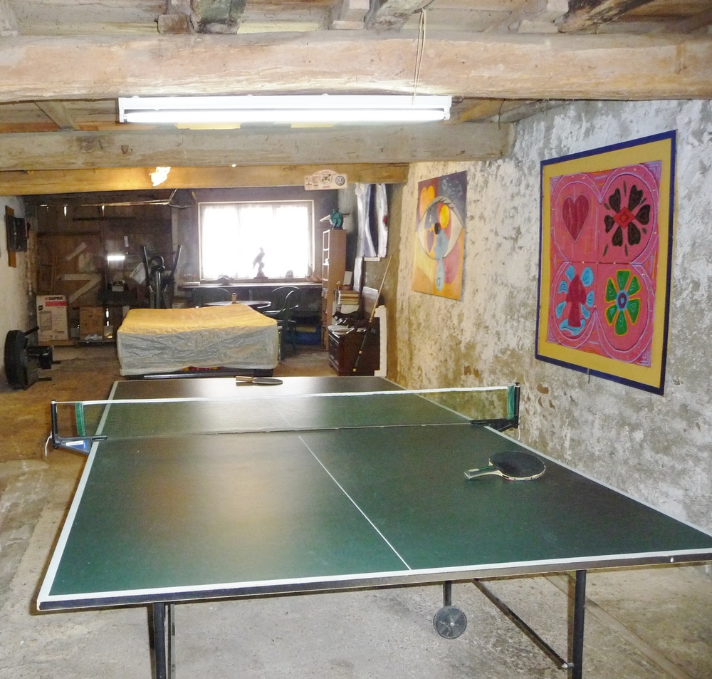 Games barn with table tennis, pool, darts, babyfoot and fitness machines