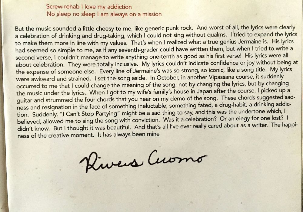 From the CD jacket of  Alone II: The Home Recordings of Rivers Cuomo