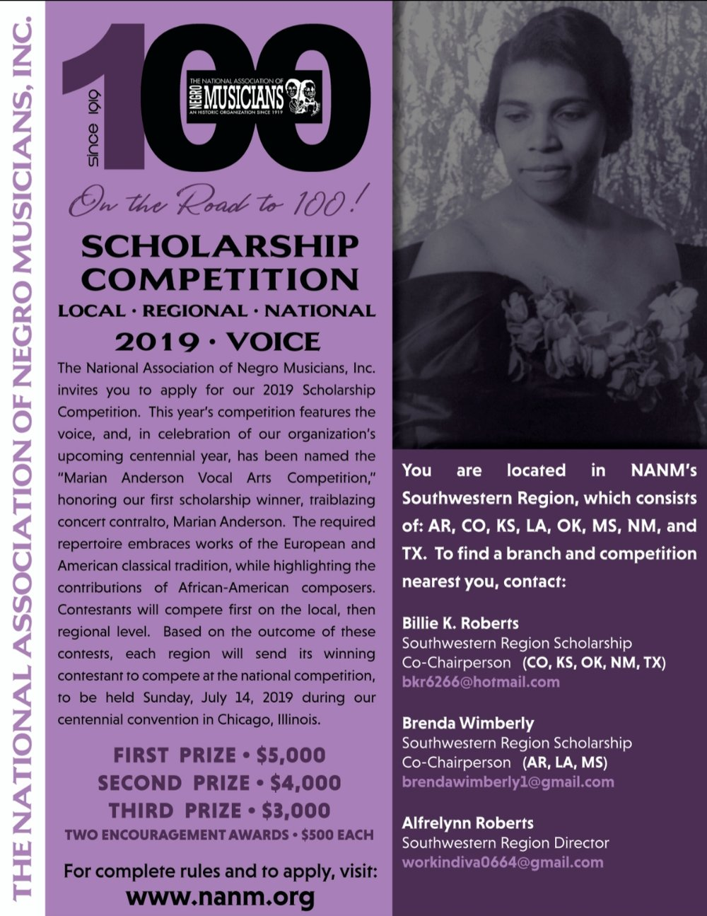 "It was in 1919 — 100 years ago — that a young, unknown classical singer won the first scholarship from the National Association of Negro Musicians, founded that same year. Marian Anderson went on to become one of the 20th century's most celebrated concert contraltos. She died in 1993 at age 96.  Now young musical hopefuls from the Dallas-Fort Worth area and throughout the Southwest can compete in association's centennial year for the same scholarship that Anderson won. The Marian Anderson Vocal Arts Competition will begin at the local level before advancing to regional and national rounds. Required repertoire includes works of American and European classical tradition and highlights the works of African-American composers.  This is the first year the competition is named in Anderson's honor. Winners will be announced July 14 at the centennial convention in Chicago. First-, second- and third-place prizes are $5,000, $4,000 and $3,000, respectively. Two ""encouragement"" awards of $500 also will be given.  Applications, including a $50 fee, are due Feb. 8. Visit www.nanm.org to apply.  The Dallas Metroplex Musicians' Association promotes this area. To find a branch near you, contact local/regional co-chairs Billie Roberts at bkr6266@hotmail.com and Brenda Wimberly at brendawimberly1@gmail.com or call 214-808-4587 or 682-587-9646."