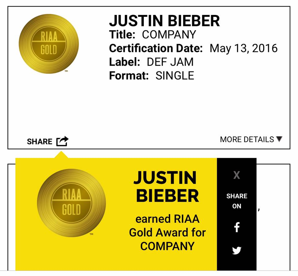 "Justin Bieber's ""Company"" is certified Gold by the Recording Industry Association of America."