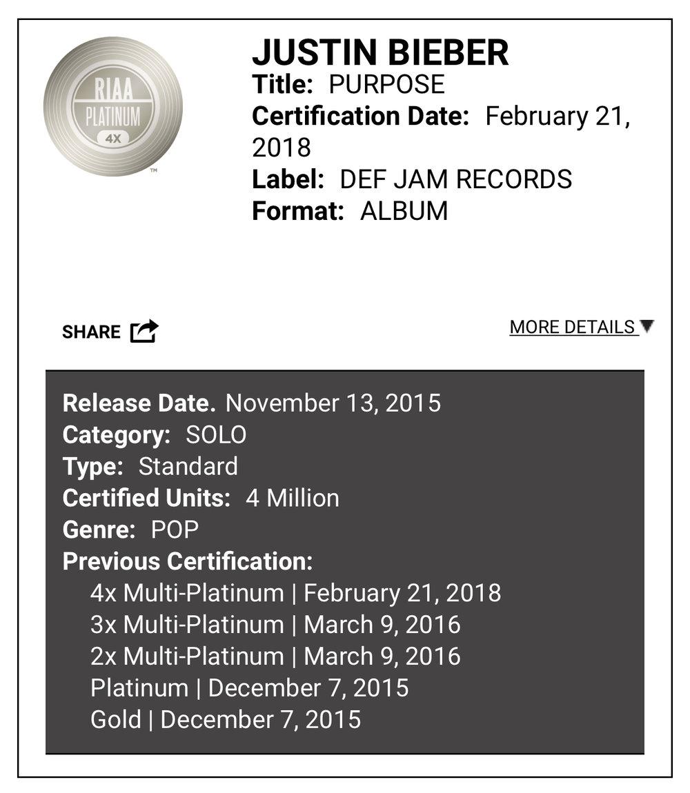 Purpose album Justin Bieber 4 x platinum certification confirmation.jpg