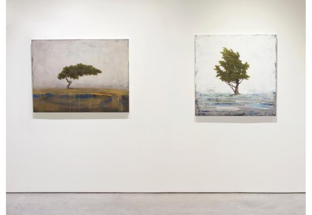 """Wanderlust""  (on the left) oil on panel, 36"" x 48""  and   ""Winter Pine""  (on the right) oil on panel, 40"" x 40""  - Available at Aberson Exhibits"
