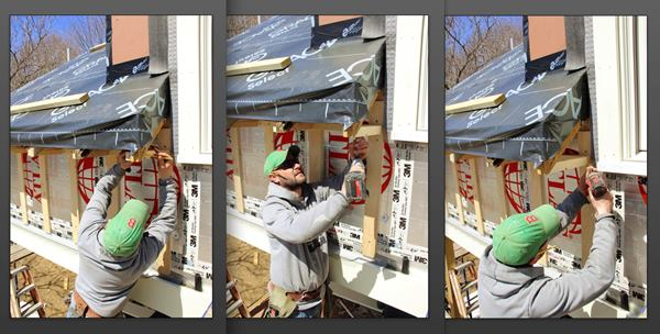 At the eave return, Fenton scribes a level nailer to match the underside of the end rafter (left), screws the nailer to the rafter (center), and screws the nailer to the ledger on the house wall (right).