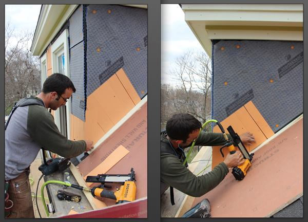 Pollard builds up triple shingle coverage at the base of the cheek wall, first attaching a course of full shingles with the base set parallel to the roof (on a temporary one-inch spacer block), then attaching a course of partial shingles cut on an angle to match the roof.
