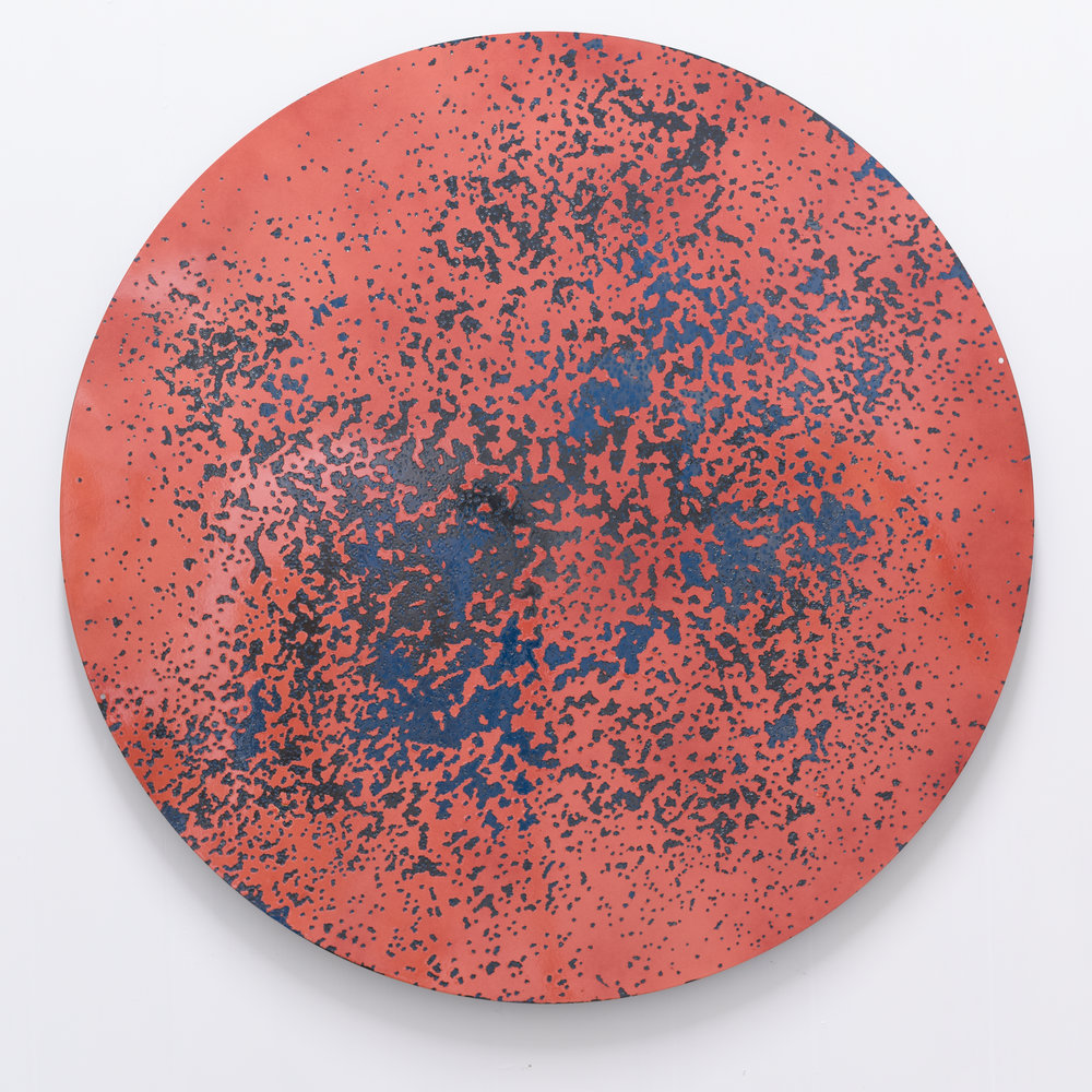 """  Caliber Abstraction Fiesta  ""       NIcholas Hunt   Oil based enamel on anodized aluminum  
