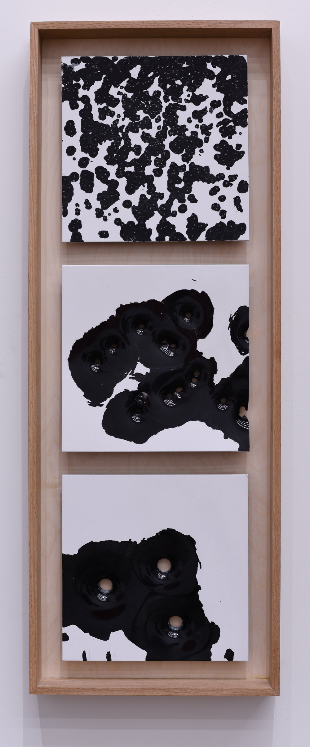 """Bird, Buck, Slug: White on Black #1  ""       NIcholas Hunt       Oil based enamel on anodized aluminum  