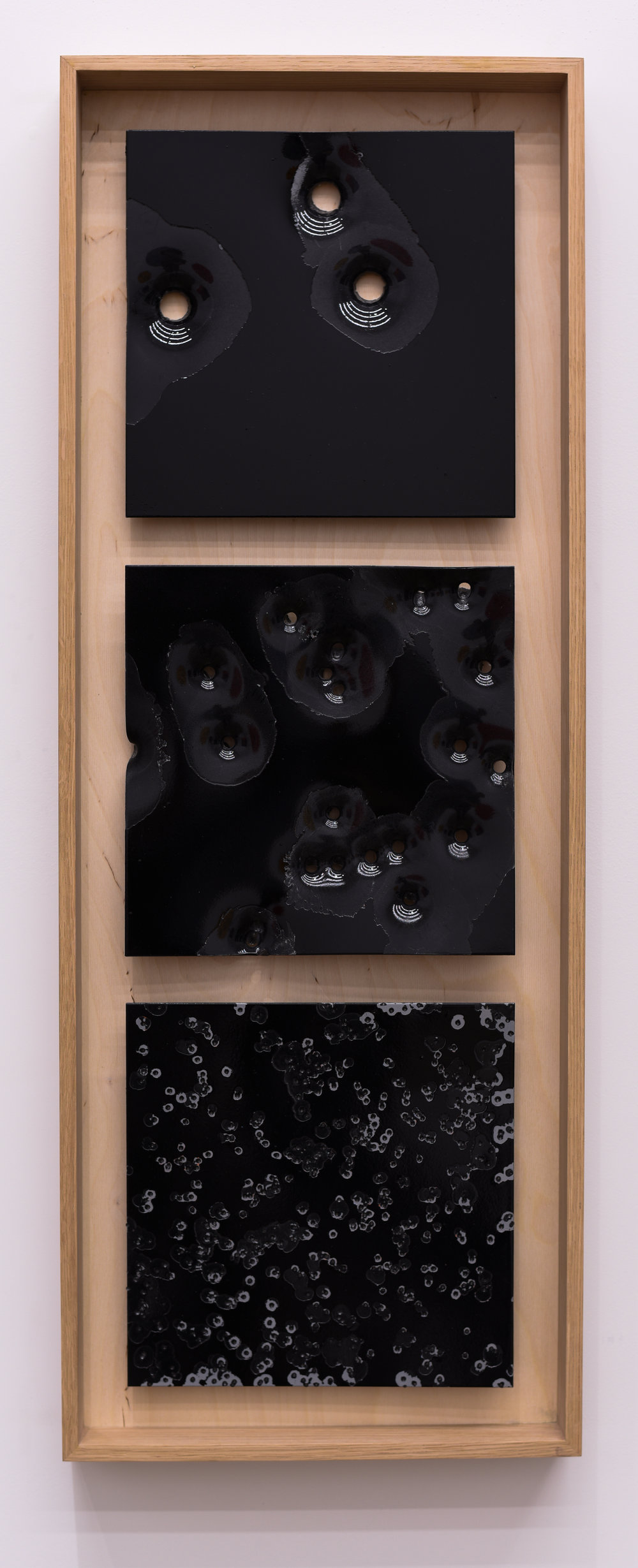 """  Bird, Buck, Slug: Black on Black #1 2017  ""     NIcholas Hunt   Oil based enamel on anodized aluminum  