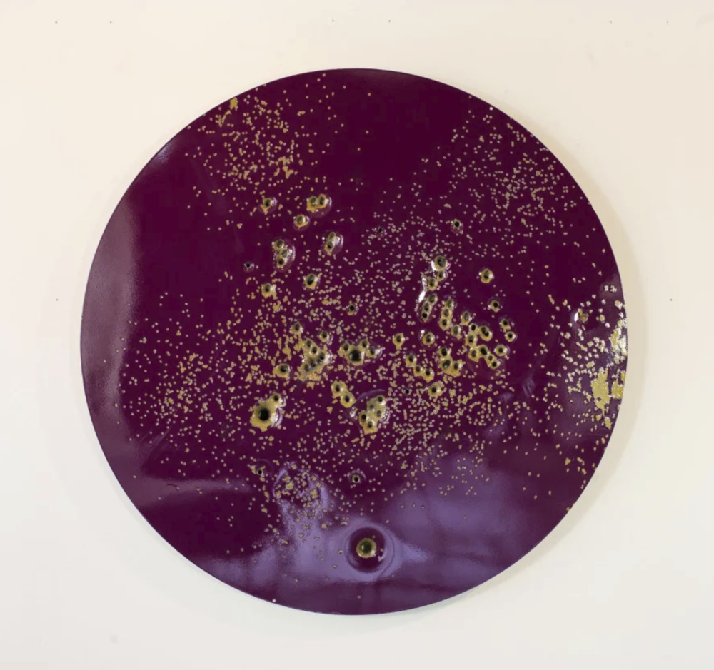 """Caliber Abstraction Purple on Gold #1""     Oil based enamel on anodized aluminum (36"" in diameter) (91.4 cm diameter) 