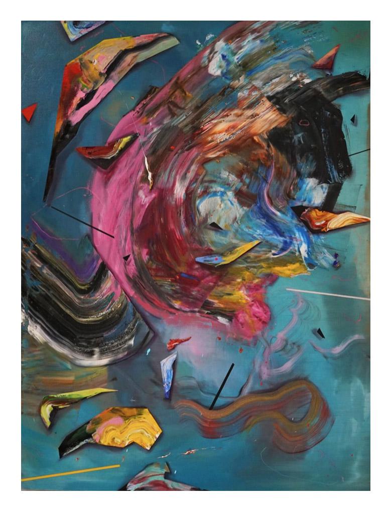 """The Drum""   Matthew Ryan Herget  Oil, spray paint and crayon on canvas | (48"" x 36"" ) | 2018     Inquire Price"