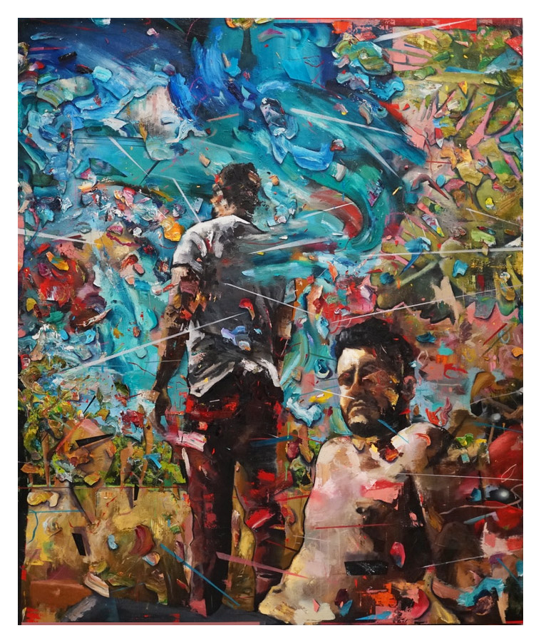 """""""In Pursuit of Beautiful Truths""""   Matthew Ryan Herget  Oil, quartz crystal, spray paint, and crayon on canvas l 
