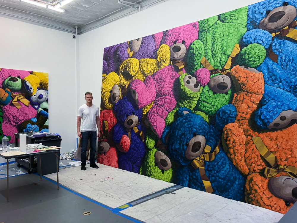 Brent Estabrook with 10ft X 15ft diptych - painted in SoHo NY for 'ToyBox' Exhibition | May 2018