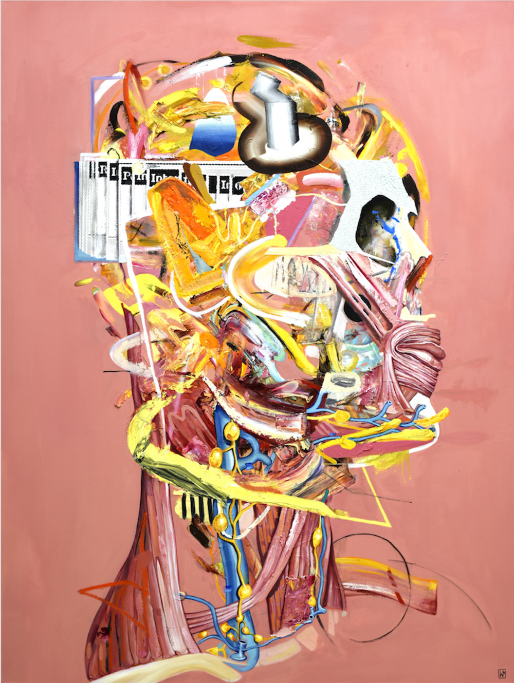 """""""Internal Dialog""""   Oil, silkscreen and mixed media on canvas  (72"""" x 54"""" ) ( 182.88 x 137.16 cm)   2018     Inquire Price"""