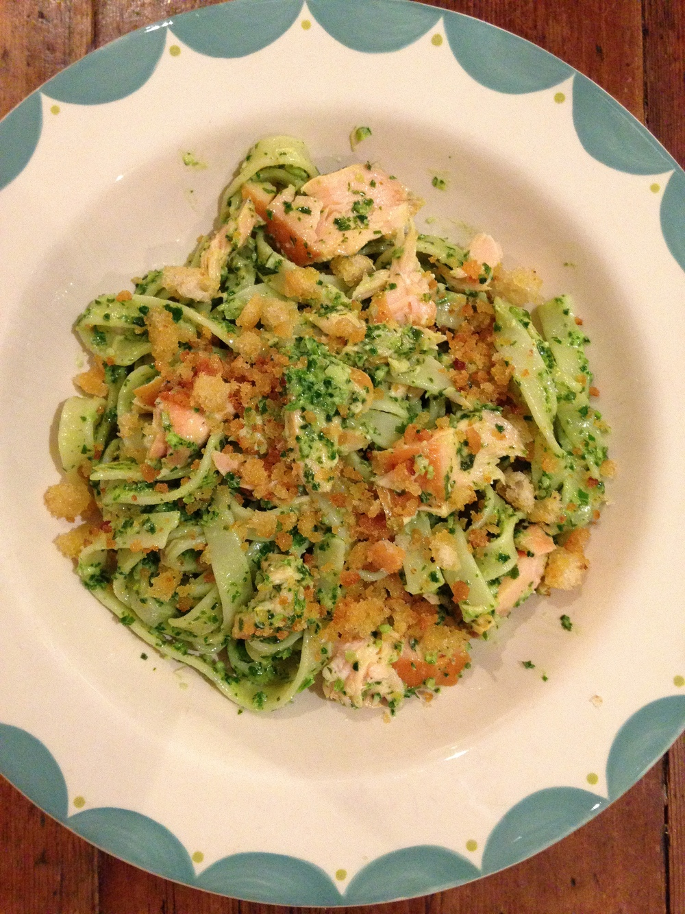 Pasta with kale pesto and hot smoked salmon