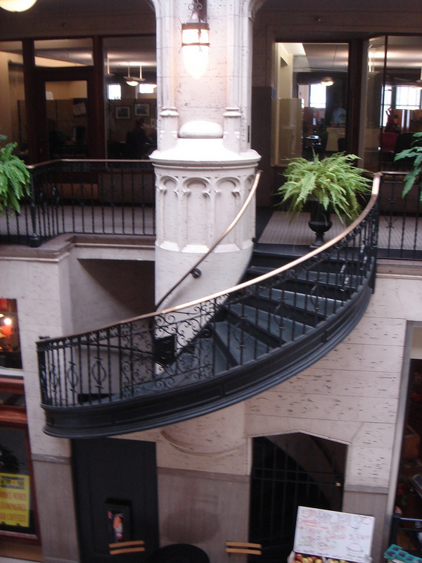 One of several spiral staircases that are no longer in use.