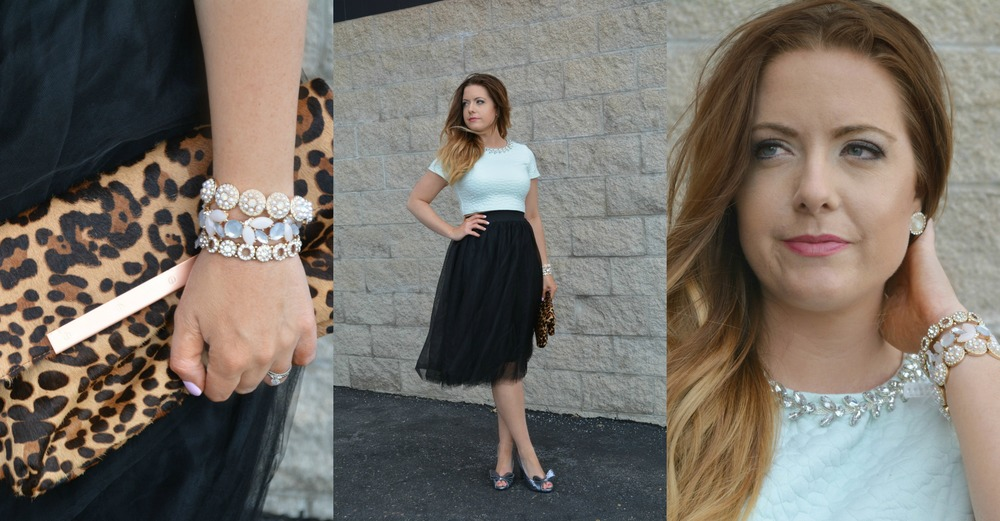 Francesca's    top (in store), Windsor skirt similar    Macy's dress   , Vintage shoes similar at    Macy's shoes   , Joie clutch similar    Macy's clutch   ,    Francesca's earrings   , and Francesca's bracelets (   1,2,3   )